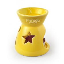 Аромалампа круглая узорная в пластиковой коробке, желтая