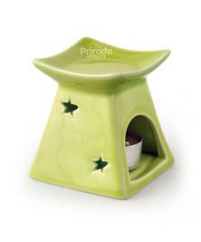Аромалампа пирамидка узорная в пластиковой коробке, зеленая